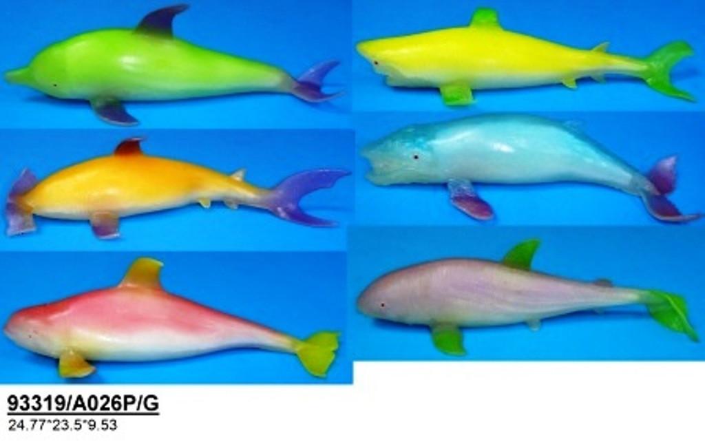Морские животные Гонконг A026P/G тянучка, 20-23см, светится в темноте, 6в, 24 шт в коробке
