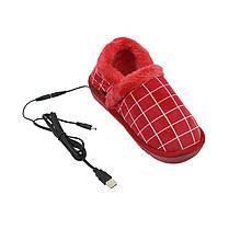 Тапочки с подогревом Lesko YD-02 Клетка Red стелька 23.5 см от USB порта, фото 2