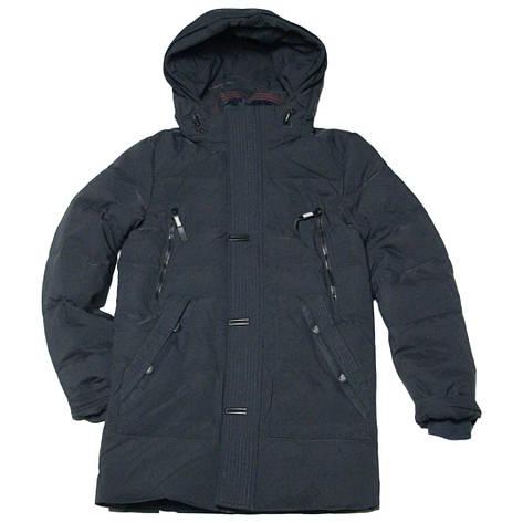 Зимняя подростковая удлиненная куртка парка для мальчика 170 рост ZPJV черная, фото 2