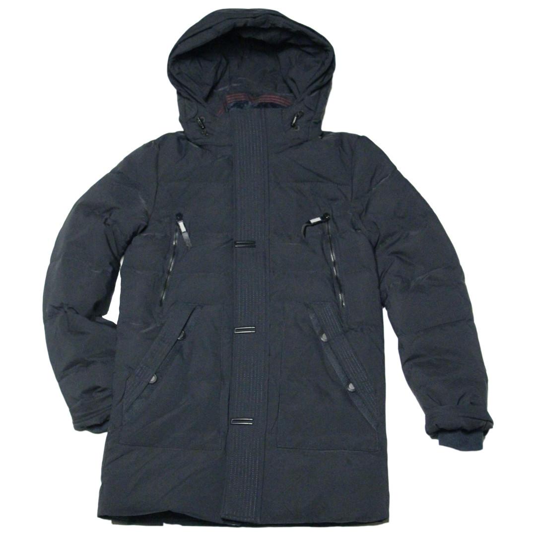 Зимняя подростковая удлиненная куртка парка для мальчика 170 рост ZPJV черная