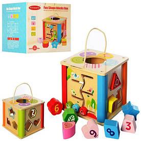 Деревянная игрушка Сортер MD 2364 куб, лабиринт, фигурки 9шт, в кор-ке, 18,5-18-18,5см