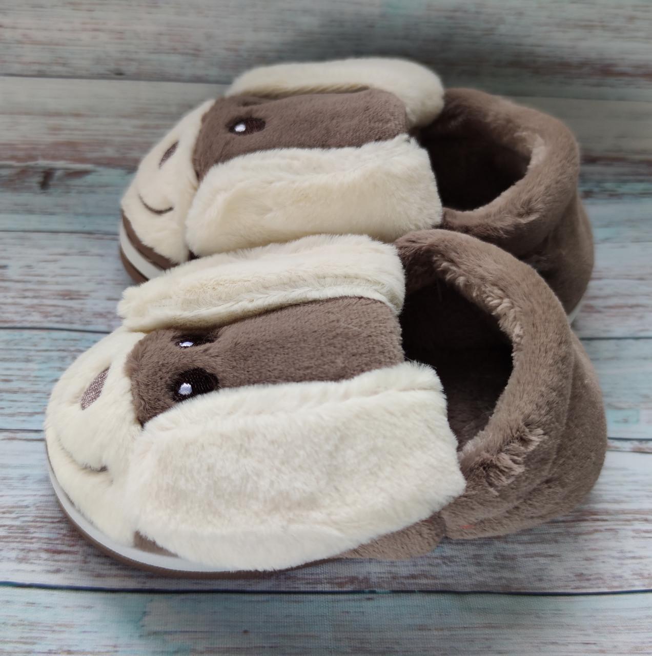 Детские тапочки теплые комнатные для дома для мальчика домашние собачки коричневые
