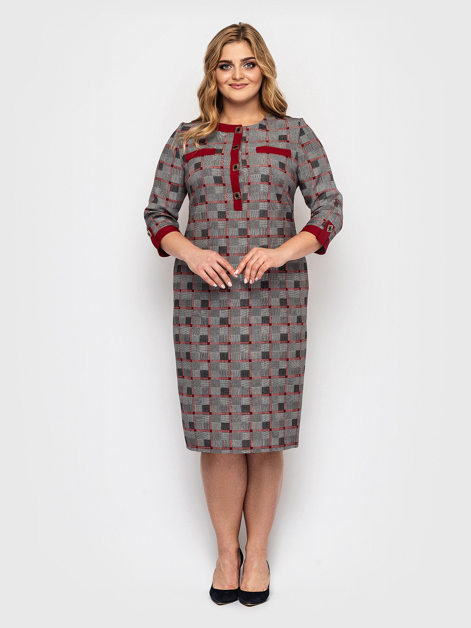 Женское платье Мирра клетка бордо