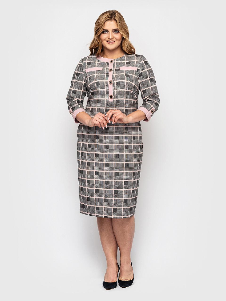 Женское платье Мирра клетка пудра