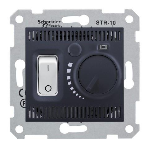 Термостат для теплого пола 10 A - 230 В  с температурным датчиком 4 м Графит Sedna SDN6000370