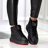 Трендовые черные женские высокие зимние кроссовки на шнуровке, фото 4