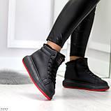 Трендовые черные женские высокие зимние кроссовки на шнуровке, фото 5