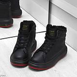Трендовые черные женские высокие зимние кроссовки на шнуровке, фото 6