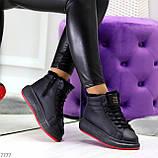 Трендовые черные женские высокие зимние кроссовки на шнуровке, фото 7