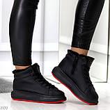 Трендовые черные женские высокие зимние кроссовки на шнуровке, фото 8