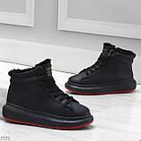 Трендовые черные женские высокие зимние кроссовки на шнуровке, фото 9