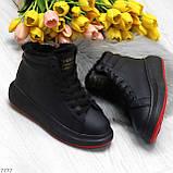 Трендовые черные женские высокие зимние кроссовки на шнуровке, фото 10