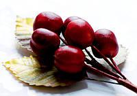 Бутоньерка Слива красная на проволоке с листиками, декоративные ягоды