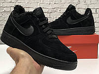 Зимние кроссовки на меху черного цвета Nike Air Force 1 Low Black (Мужские зимние кроссовки Найк Аир Форс), фото 1