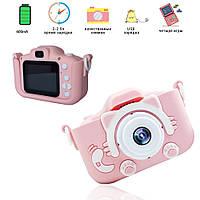 Гипоаллергенный детский цифровой фотоаппарат с играми Smart Kids Kitty Камера в виде игрушки Кошечка Розовый