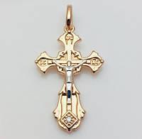 Крест нательный 96201156-01, высота 29 мм ширина 20 мм, позолота+ родий