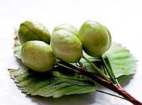 Бутоньерка Оливки зеленые на проволоке с листиками, декоративные ягоды