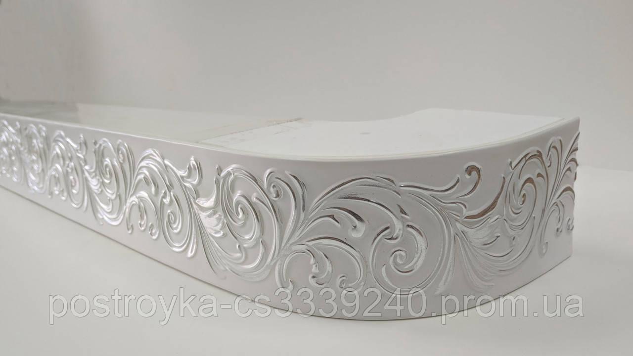 Лента декоративная на карниз, бленда Премьер 11 Серебро 70 мм на усиленный потолочный карниз КСМ