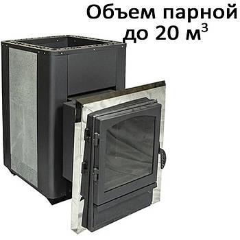 Печь банная, облицовка талькохлорит, c выносом, дверь со стеклом, н/ж.  KPT-20SL (20кВт)