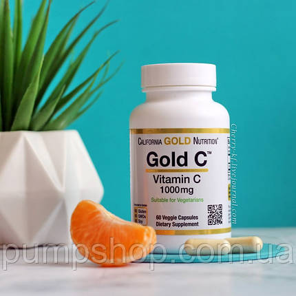 Вітамін C California Gold Nutrition Gold C 1000 мг 60 капс., фото 2