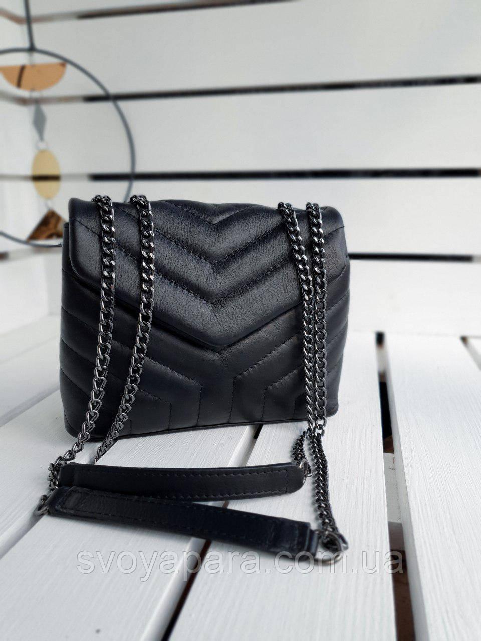 Кожаная женская сумка размером 22х17х8 см Черная (01278)