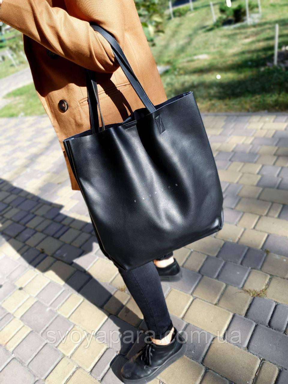 Кожаная женская сумка-шоппер размером 41х39 см Черная (01268)