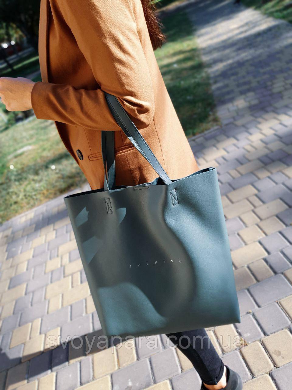 Кожаная женская сумка-шоппер размером 41х39 см Синяя (01269)