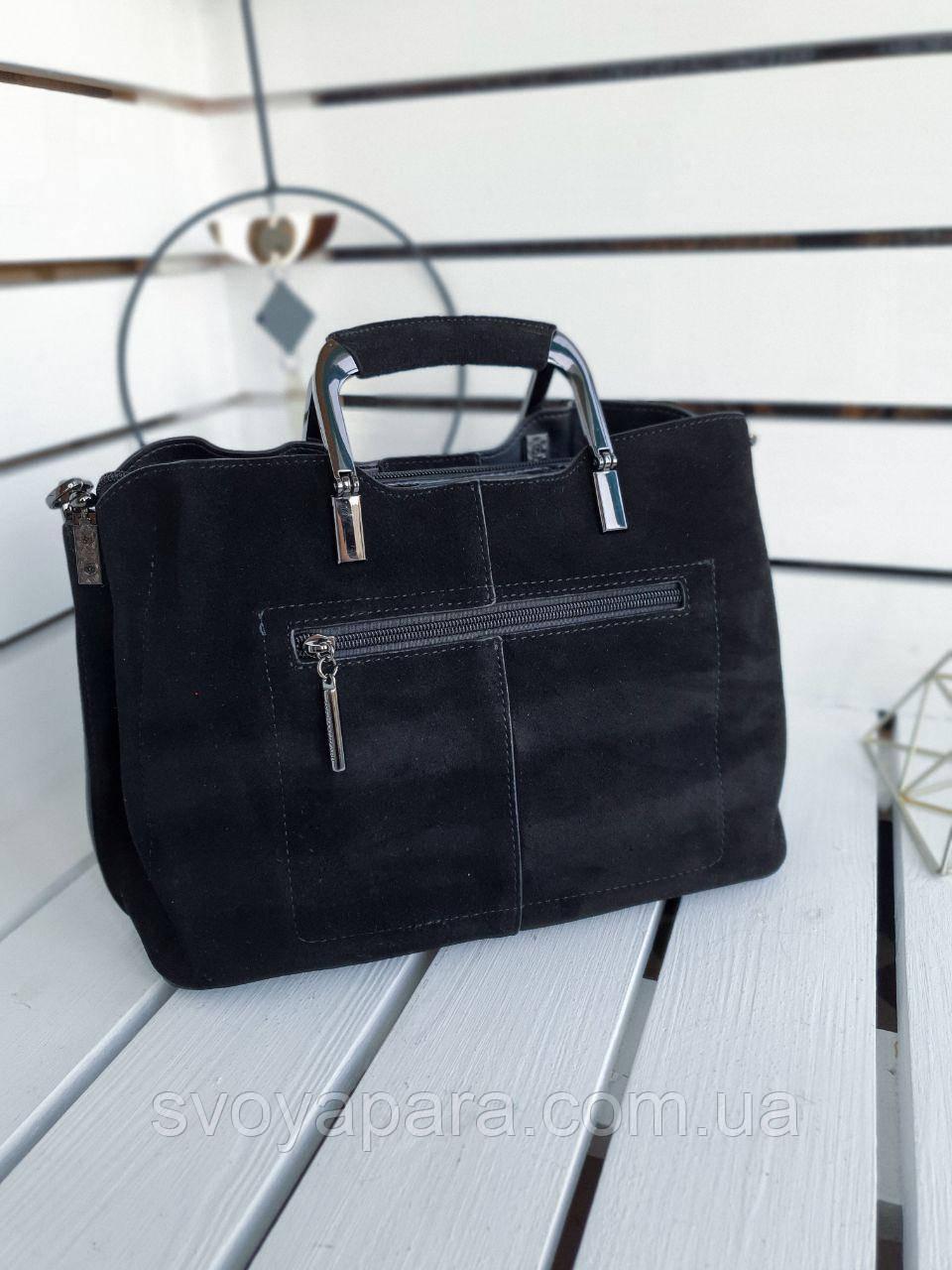 Кожаная/замшевая женская сумка размером 30х19х15 см Черная (01272)