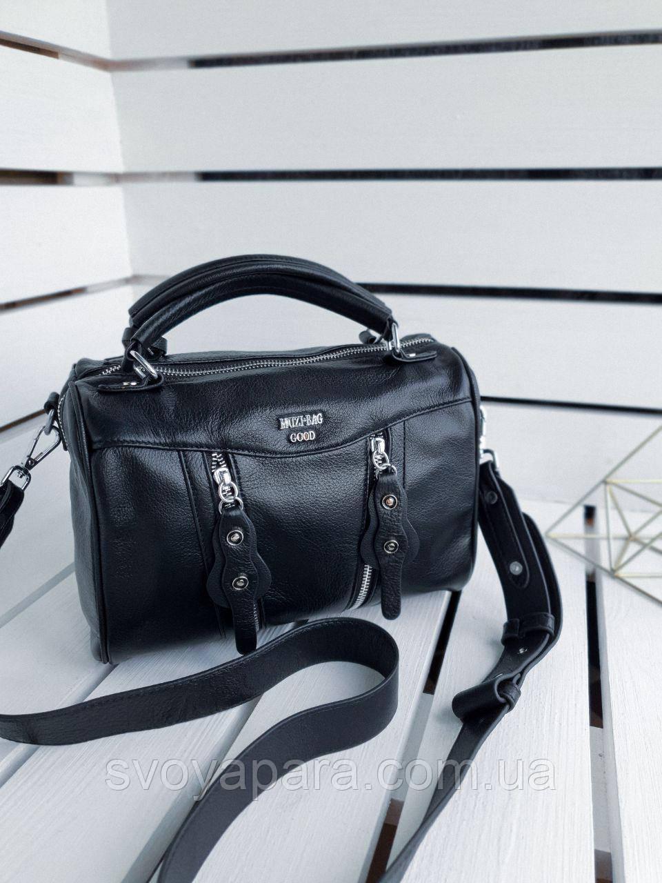 Кожаная женская сумка размером 26х19х12 см Черная (01260)