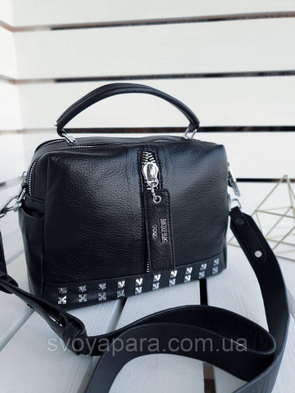 Кожаная женская сумка размером 26х18х12 см Черная (01257)