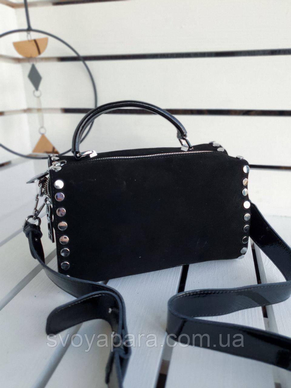 Кожаная-замшевая женская сумка размером 27х16х13 см Черная (01286)