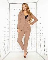 Стильный женский брючный костюм двойка батал: пиджак с капюшоном + брюки (р.48-54). Арт-2475/15, фото 1