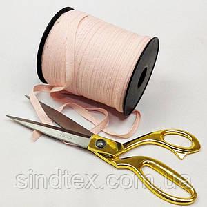 Светло-розовая хб киперная лента 1 см на отрез кратно 1 м. (6-БК-711)