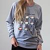 Серый женский свитшот с кото смайлами