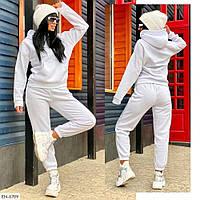 Женский теплый спортивный костюм на флисе черный, белый, фреза, фото 1