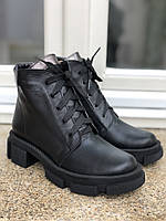 Ботинки женские кожа чёрные зимние, женские кожаные ботинки зимние демисезонные на шнуровке