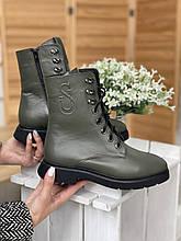 Женские ботинки кожаные зимние оливковые