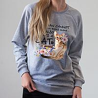 Серый женский свитшот, кот и цветы, фото 1