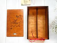 """Бокалы с гравировкой (№22) в деревянной коробке """"Бабочки"""" (ореховое дерево), фото 4"""