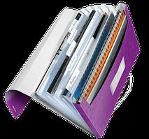 Папка пластиковая с 6-ю отделениями Leitz WOW на 200 листов фиолетовая