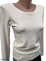 Кофта ажурная с круглой горловиной, Кофта демисезон, свитер лёгкий вязанный, вязанная легкая кофта XL/2XL