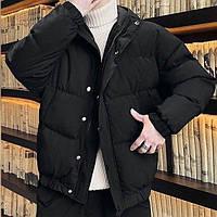 Куртка зимняя оверсайз короткая черная мужская женская Киев