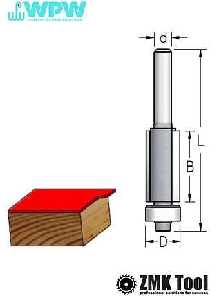 Фреза WPW прямая с нижним подшипником D=9,5 d=8 B=13 L=53, фото 2
