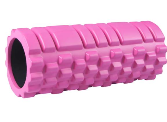 Массажный роллер для занятий йогой и пилатесом. 33×13см Розовый