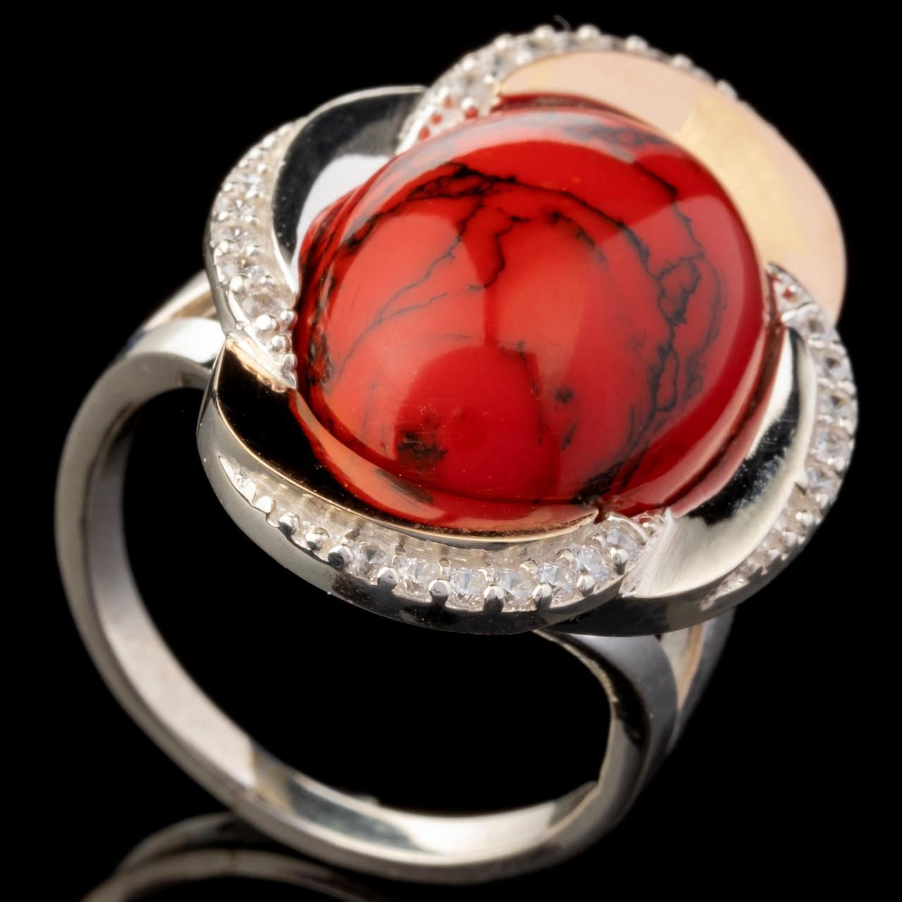 Серебряное кольцо 925 пробы с золотом арт. 617к
