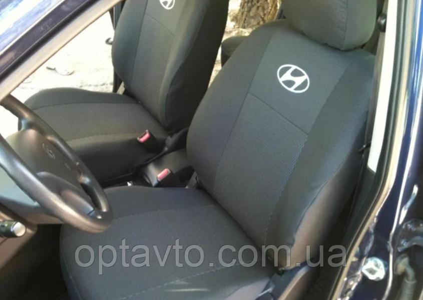 Чохли Hyundai Tucson 2004-2014р. Якісні авто чохли Хюндай. Тканина жаккард. Темно-сірий. Prestige