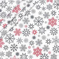 ✁ Отрезы Бязи Снежинки красно-серые