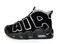 """Мужские зимние кроссовки Nike Air More Uptempo """"Winter"""" (черные) 11635"""