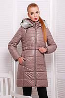 Куртка женская зимняя с жилеткой бежевая удлиненная с капюшоном на синтепоне
