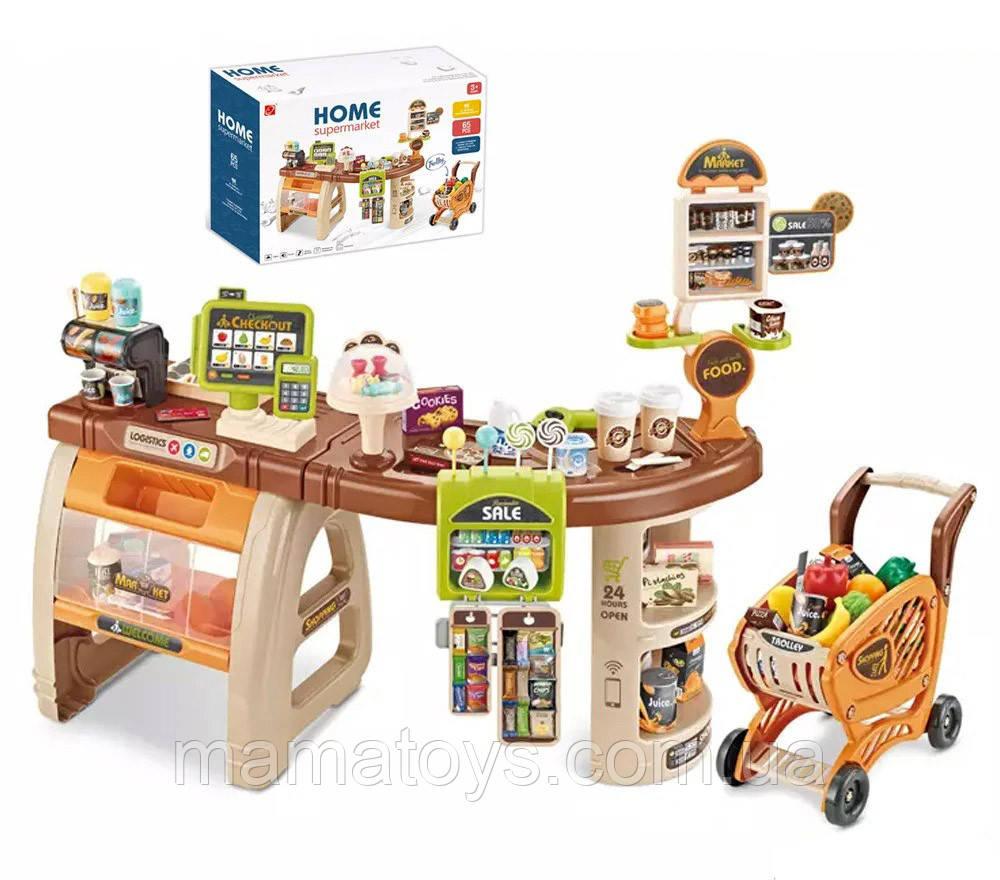 Дитячий ігровий Супермаркет Магазин 668-68 з візком, продукти, стіл - прилавок, 65 предметів,